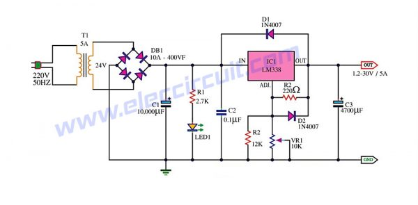 Adjustable power supply 12 30v 5a using lm338 600x295