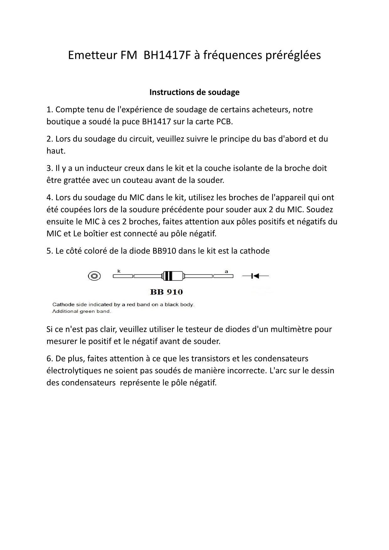 Emetteur fm bh1417f a frequences prereglees 1