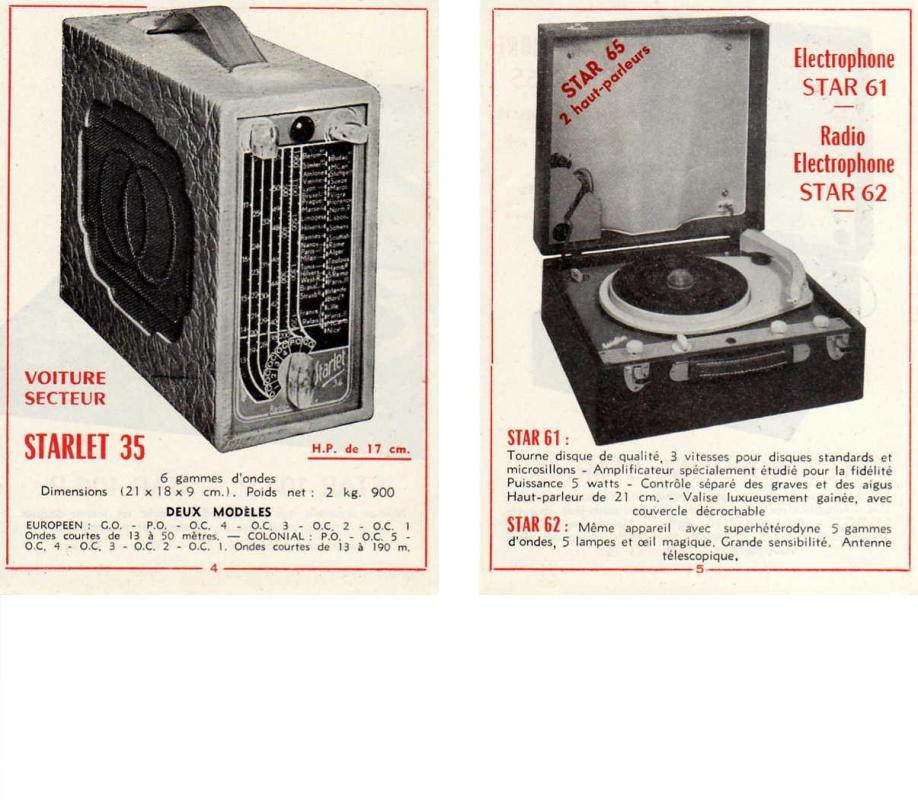 Starlet 35 et star 62 et electrophones